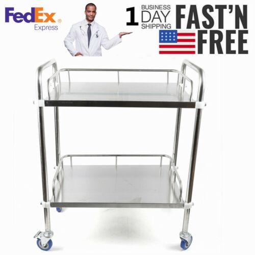 Metal Medical Dental Lab Mobile Cart Trolley Omnidirectional Lockable 2 layer 1