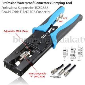 Crimp Tool Coax Compression Crimping Cable Connectors RG59/RG58/RG6 BNC/RCA/F