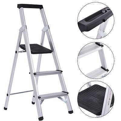 Non-slip 3 Step Ladder Aluminum Folding Work Stool Platform 330lbs Load Capacity