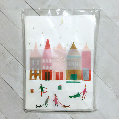 "Christmas Treat Bags 12 Holiday Village 5.5x7.75"" Gift Food Safe Anthropologie"