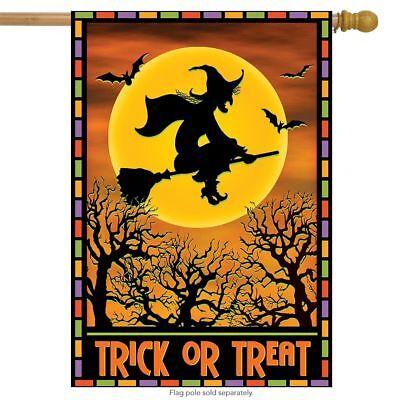 "Full Moon Witch Halloween House Flag Spooky Bats Broom 28"" x"