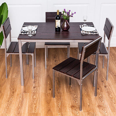 5 Piece Dining Table Set w/ 4 Chairs Wood Metal Breakfast Kitchen Furniture New
