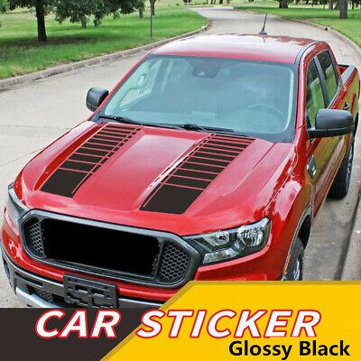 2Pcs Car Hood Bonnet Decor Decal Sticker Glossy Black Sports Stripe Graphic 95cm