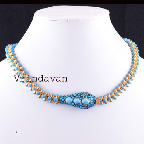 925 Sterling Silver Natural Rosecut Diamond Turquoise Victorian Snake Necklace