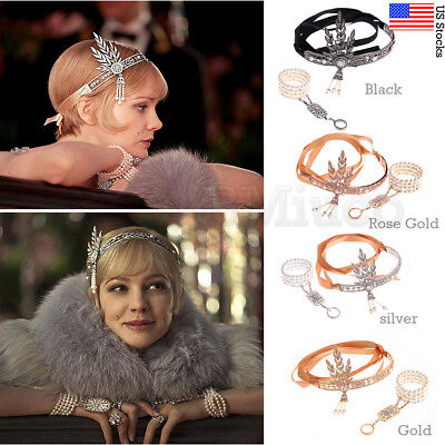 1920s Accessories Hair Flapper Great Gatsby Headpiece Headband Bracelet Ring Set