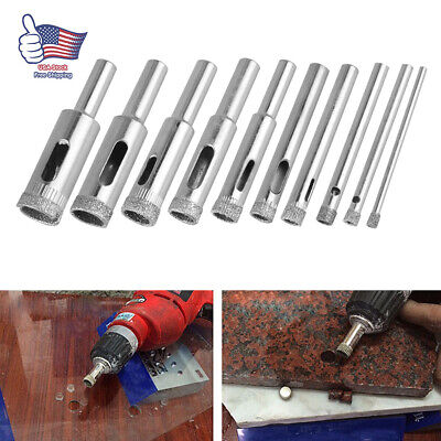 10X 3-11mm Diamond Drill Bits for Glass Ceramic Tile Porcelain Hole Saw Cutting
