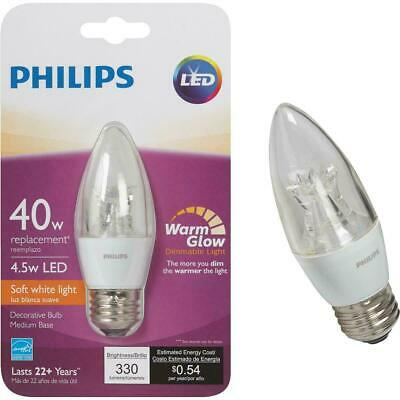Philips 40W Equivalent Soft White B11 Dimming Blunt Tip Candle LED Bulb