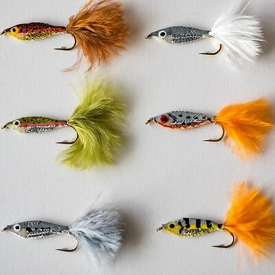 6 Epoxy Baitfish Minnows Fry Trout Fly Fishing Flies By