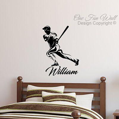 Baseball Player Batter MLB Wall Decal & Personalized Name Vinyl Sticker Décor   - Baseball Wall Decor