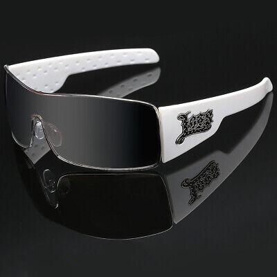 Locs Mirrored Metal Rim Shield Sunglasses Old School Men Cholo Gangster (Mirrored Shield Sunglasses)