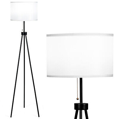 Modern Metal Tripod Floor Lamp White Fabric Shade w/ Chain S