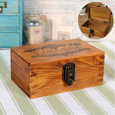 UK Vintage Wooden Jewellery Box with Metal Lock & Key Trinket Chest Gift Case