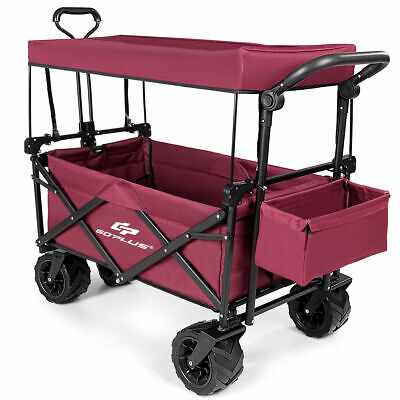 Collapsible Folding Wagon Cart W/ Canopy Outdoor Utility Gar