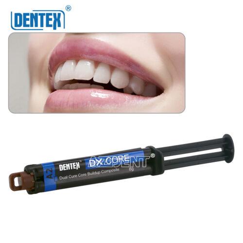 1x Dental Dentex Dual Cure Flowable Composite Resin Core Build Up Syringe A2 8g