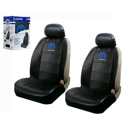 Mopar Synthetic Leather Sideless Car Truck 2 Front Seat Covers Headrest -