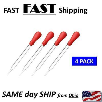 4 Pack - 10ml Glass Pipette Medicine Laboratory Dropper Rubber Head Pipet Red