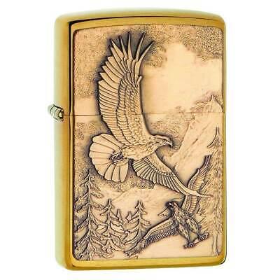 Zippo Windproof Lighter Soaring Eagles Brushed Brass (20854)