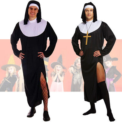 Male Nun Mens Fancy Dress Up Outfit Religious Church Costume Adult Inc Cross NEW (Mens Dress Up Outfits)