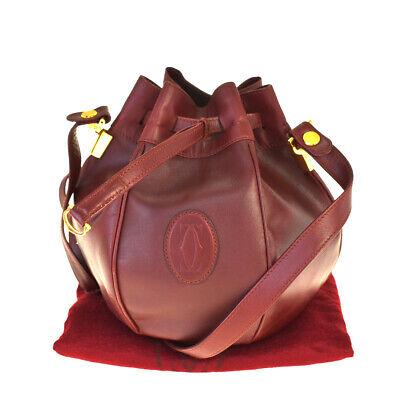 Authentic Must De Cartier 2C Drawstring Clutch Hand Bag Leather Bordeaux 66BP050