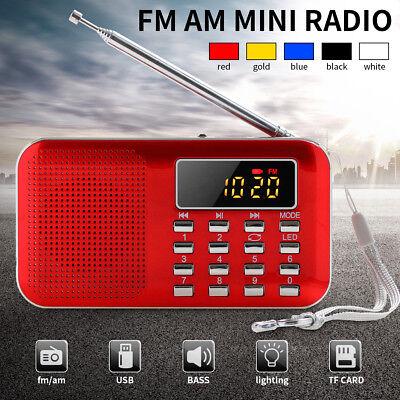 Digital FM AM Radio World Band Supper Bass Mini Speaker AUX USB TF W/ LED Light