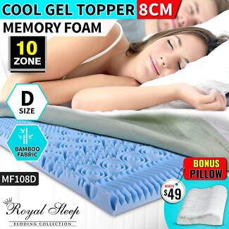 8cm Single Size Bamboo Cool Gel Memory Foam Mattress Topper