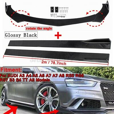 Front Bumper Lip Splitter +78.7inch Side Skirts Kit For AUDI A3 A4 A5 A6 A7 A7