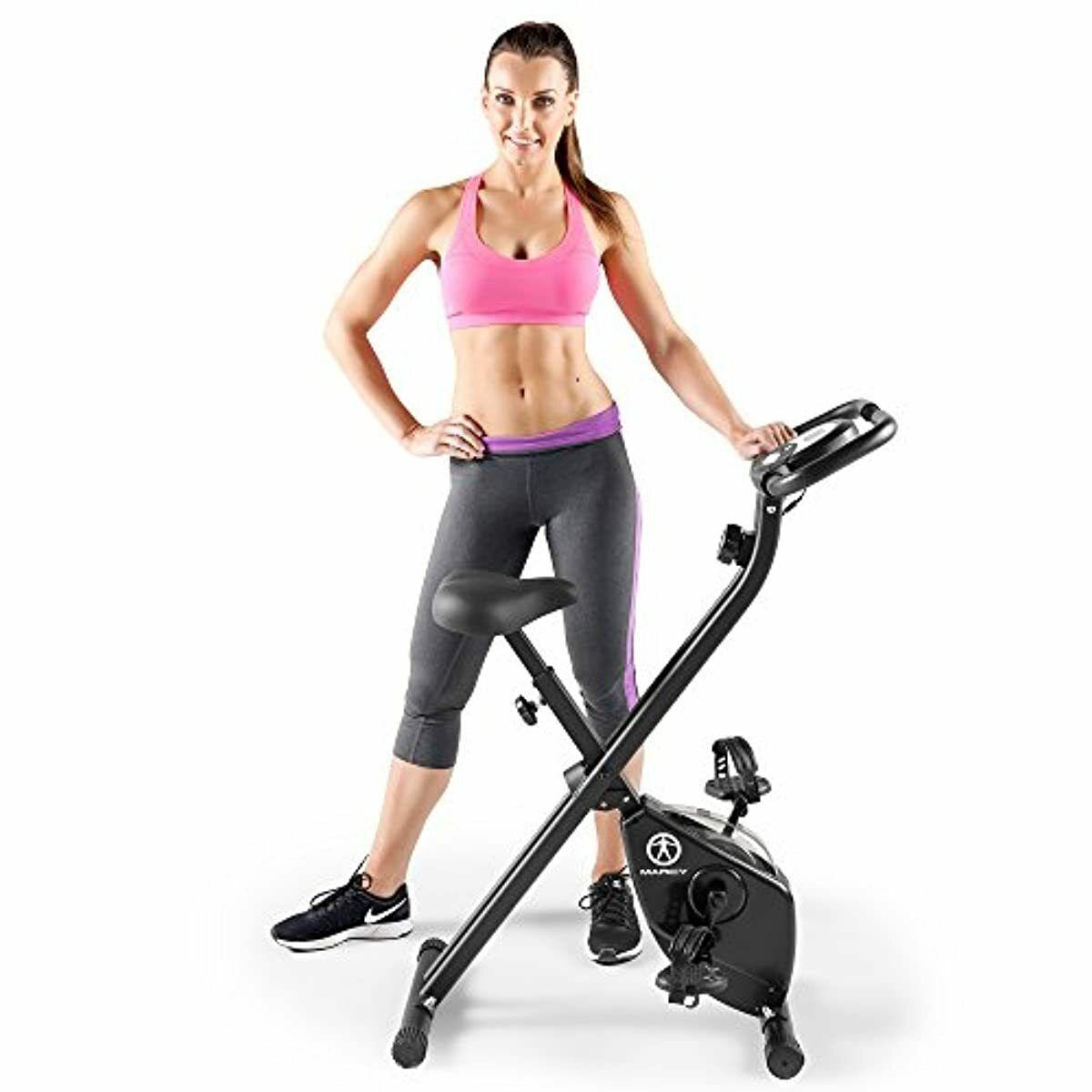 BLACK Marcy Folding Upright Exercise Spin Bike Magnetic Resi