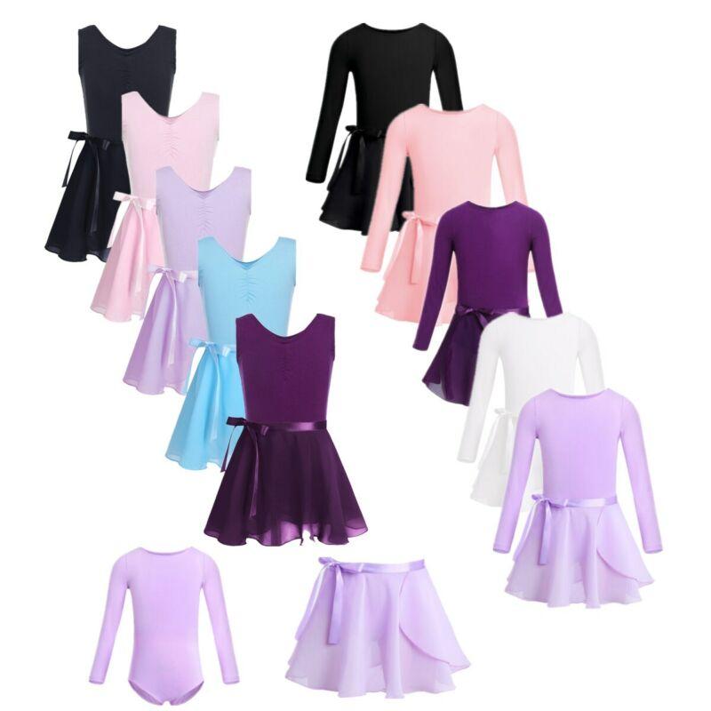 Toddler Girls Ballet Dress Gymnastics Leotard Dancewear Top+