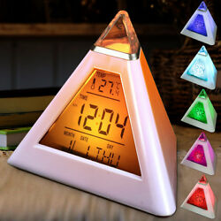 7 LED Color Changing Digital Thermometer Pyramid LCD Alarm Clock Desk Bed Light