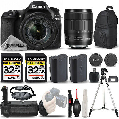 Canon EOS 90D DSLR Camera with 18-135mm IS USM Lens +BATT GRIP +EXT BATT +64GB