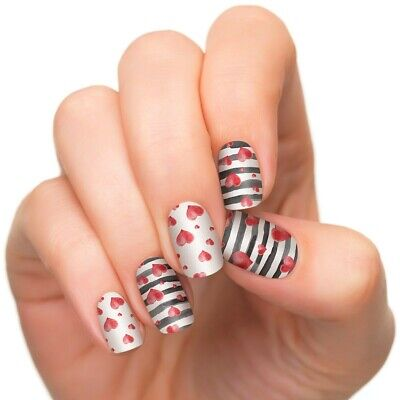 INCOCO Nail Applique Wrap Strips Made With 100% Real Nail Polish HEARTS AFLUTTER