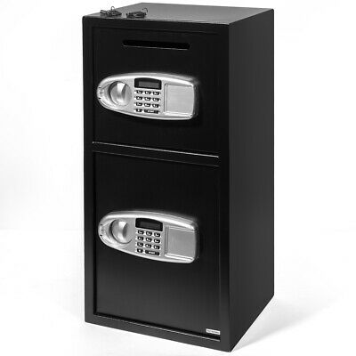 Digital Drop Depository Safe - Digital Double Door Safe Depository Drop Box Gun Safes Cash Office Security Lock