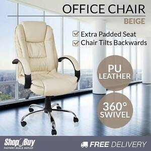 Free Delivery: Deluxe PU Leather Computer Chair High Back Melbourne CBD Melbourne City Preview