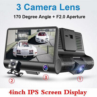 4  1080P Super Wide Angle Video Recorder 3 Cameras Parking Monitor Car Dash Cam