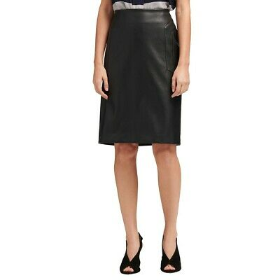 DKNY NEW Women's Faux-leather Seamed Straight Pencil Skirt TEDO