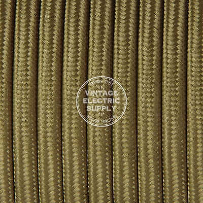 Brown Lamp Cord - Light Brown Parallel (Flat) Cloth Covered Wire - Antique Lamp Cord - UL Listed
