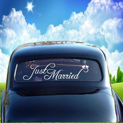 JUST MARRIED Wedding Sticker Decal Car Window Banner Vinyl Personal Decor -