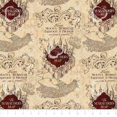 Harry Potter Marauders Map Quilting Fabric - Per 1/4 Metre