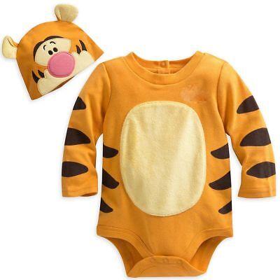 NWT Disney Store Tigger Baby Costume Bodysuit 0-3,3-6,6-9,9-12,12-18,18-24