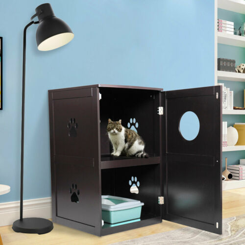 Pet House Double-Decker Litter Box Enclosure Night Stand Furniture Brown NEW