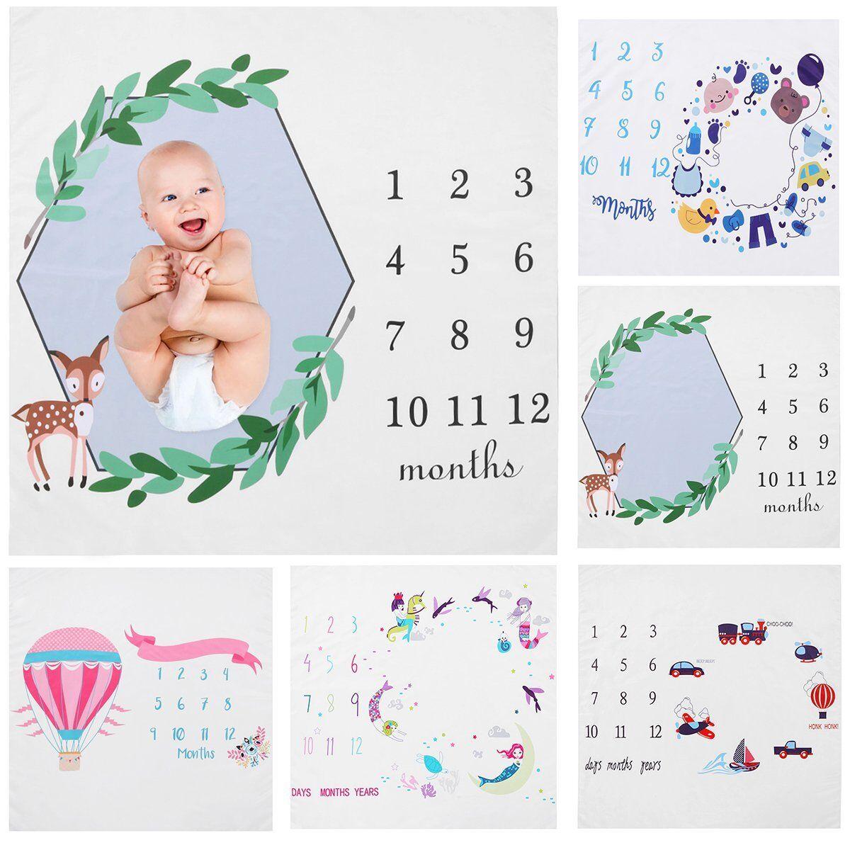 Baby Photography Blanket Newborn Warm Infant Month Growth Recording Milestone