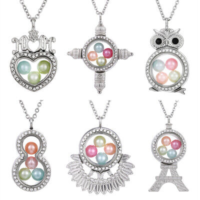 MOM Heart Living Memory Floating Locket Pendant Pearl Cage Glass Locket -