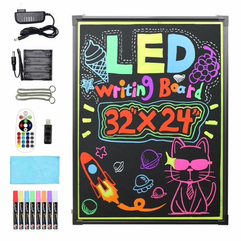 Flashing Illuminated Erasable Led Neon Sign Message Menu Writing Board W/ Remote