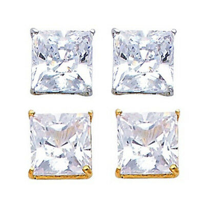 Princess Cut Simulated Diamonds Huge Stud 4 CTW Solitaire Real 14k Gold (Ctw Princess Cut Diamond Stud)