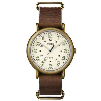 Timex TW2P85700, Men's Weekender Brown Leather Watch, Indiglo, 40MM Case