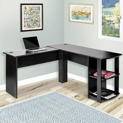 L-shapped Office Computer Desk Home Laptop Wood Table W 2 Storage Shelf Black