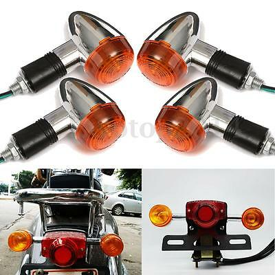 4x Motorcycle Amber Chrome Bullet Front Rear Turn Signal Blinker Indicator Light