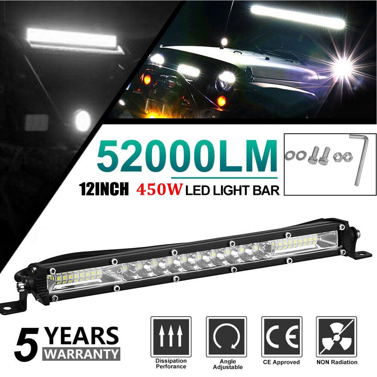 "12"" inch 450W LED Work Light Bar Combo Spot Flood Driving Of"
