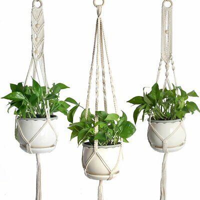 3Pcs Plant Hanger Macrame Jute Indoor Outdoor Ceiling Balcony Round Pots DIY - Macrame Plant Hanger Diy