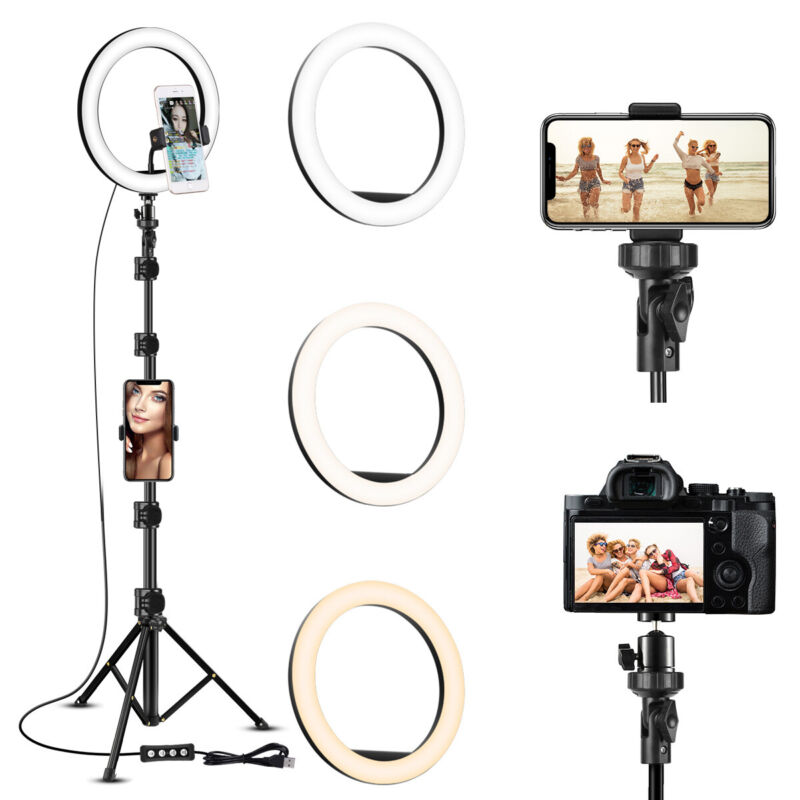"10"" LED Ring Light with Camera Tripod Stand & Phone Holder Ringlight Kit US T7"